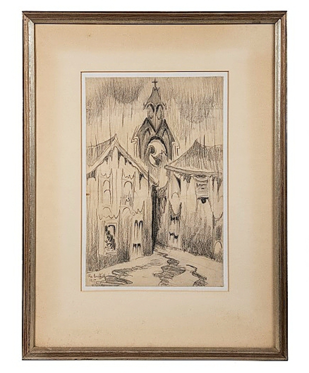 """""""Study for Church Bells Ringing on a Rainy Night,"""" a graphite on paper work by Charles Burchfield, was bid to $30,000."""