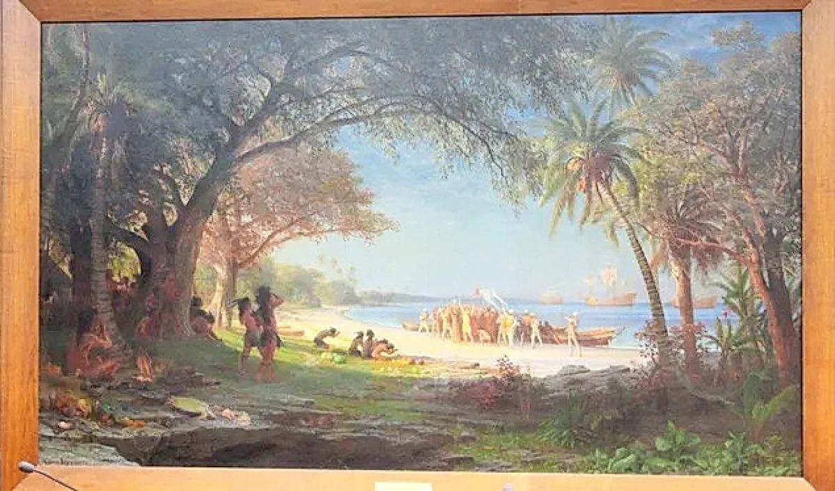 """The Landing of Columbus"" by Albert Bierstadt. Photo Carmencita Pile, City of Plainfield."