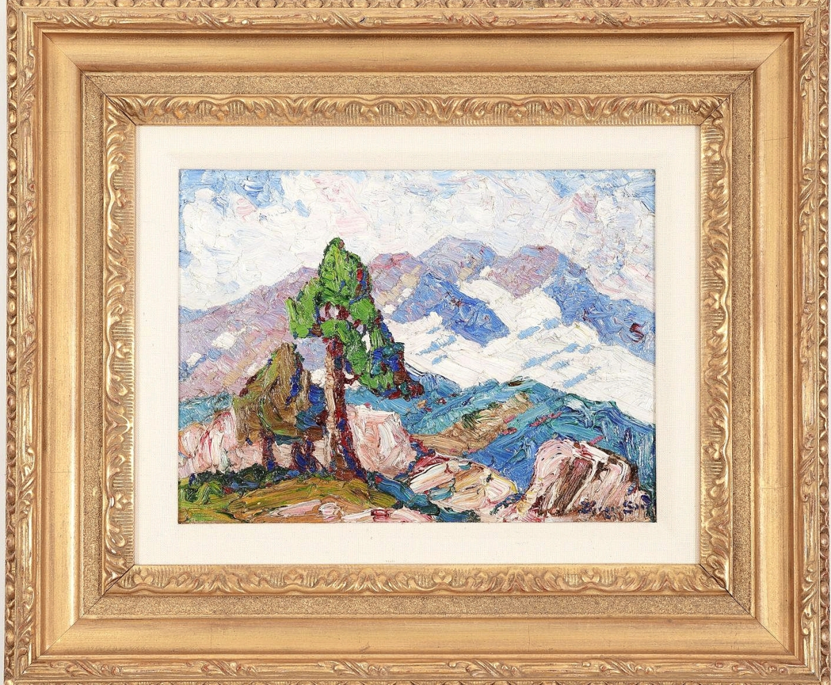 """Leading three works by Birger Sandzén (Swedish/American, 1871-1954) was """"Snow and Mountain,"""" which was done in 1925 in oil on board. With provenance to Douglas A. Frazier Fine Art and a private Arizona collection, Lark Mason was thrilled that it brought $30,002 from a collector in the United States ($10/15,000)."""