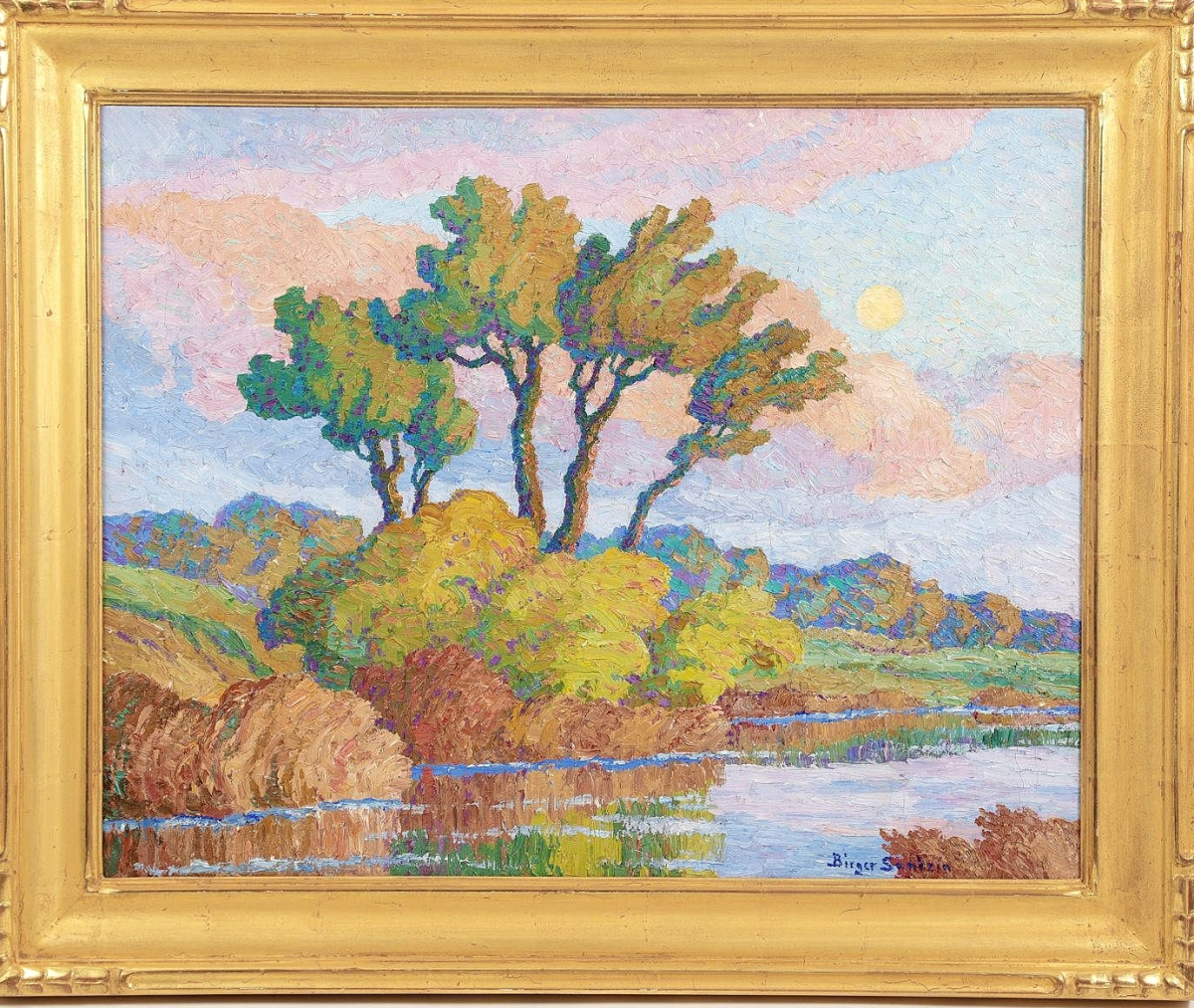 """""""Twilight"""" by Birger Sandzén sold for $30,000 to the same buyer as """"Snow and Mountain,"""" for just two dollars less. It measured 22 by 28 inches not including the frame ($25/35,000)."""