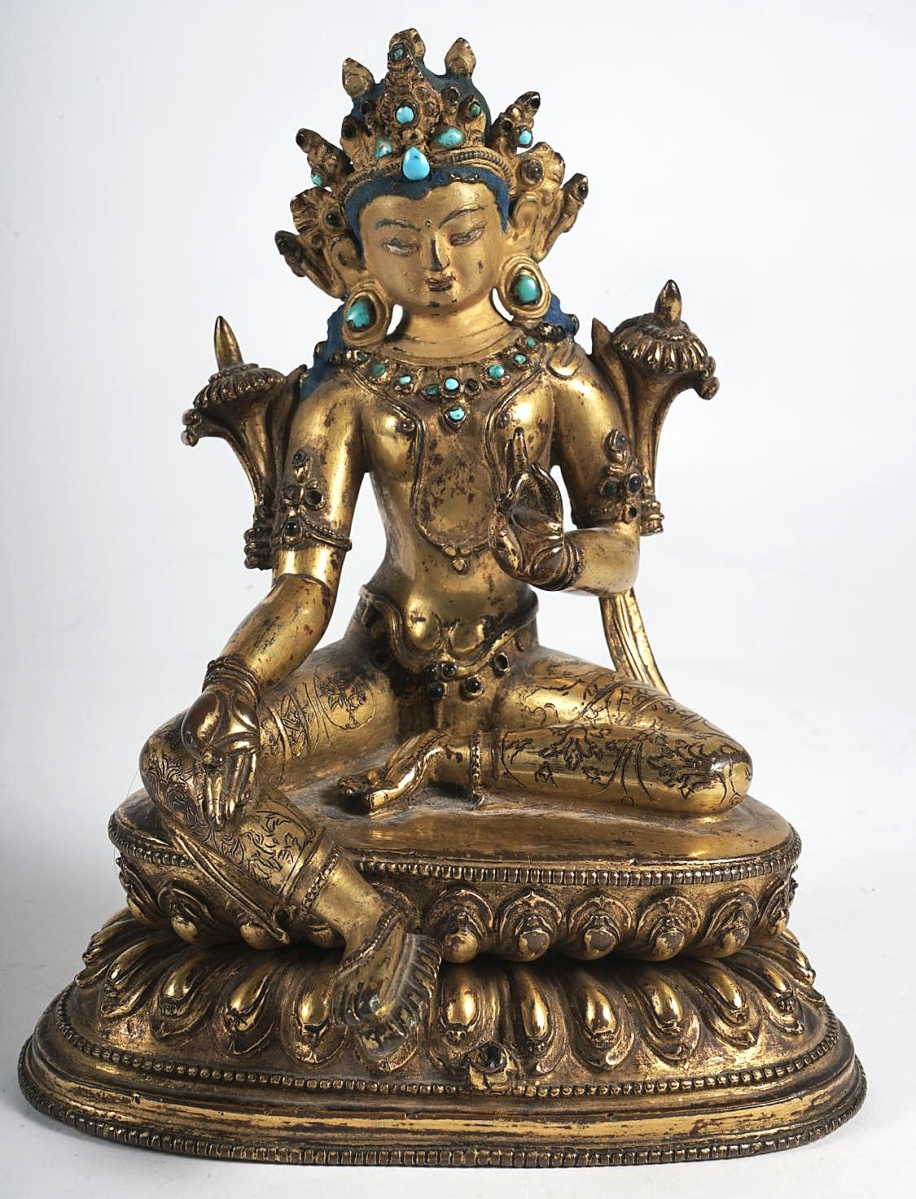 """""""It doubled what we were expecting."""" Bringing the second highest price of the day at $40,000 was this Eighteenth Century Tibetan gilt-bronze seated bodhisattva that sold to a Chinese buyer for $40,000 ($4/8,000)."""