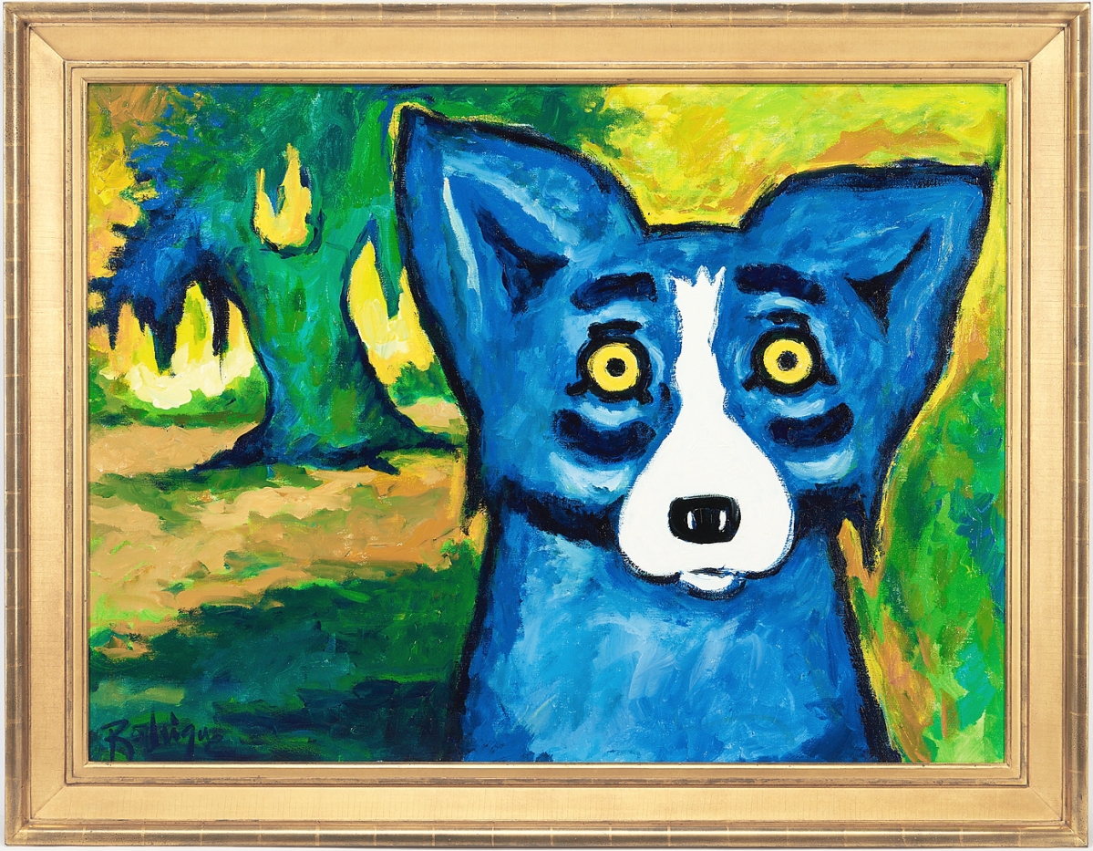 """An acrylic on canvas by Louisiana artist George Rodrigue (1944-2013) of the artist's iconic blue dog, """"Trees Are Green; Dogs are Not Supposed to be Blue,"""" sold for $90,000. It measured 36 by 48 inches and was acquired from the artist's gallery in 2012, a year before he died. The firm noted the painting was begun by Rodrigue on November 11, 2010, during an event at the Central School Arts and Humanities Center in Lake Charles, La., to raise funds and awareness for the George Rodrigue Foundation for the Arts."""