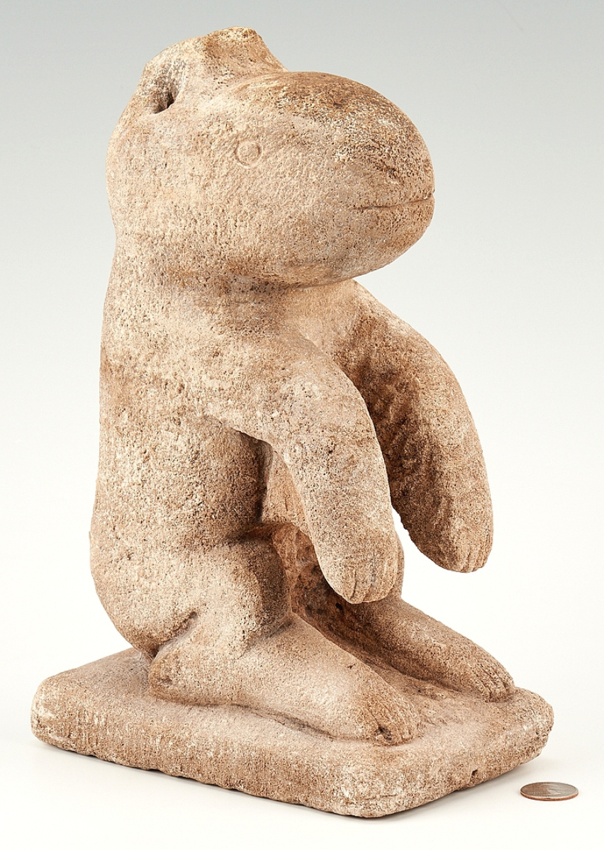 """Tennessee artist William Edmondson remains a feature in Case auctions. The auction house sold this """"Critter,"""" the third of its form they have handled in a decade, for $120,000, a near record price. It sold to a Nashville buyer who will take it home to the very region it was made in."""