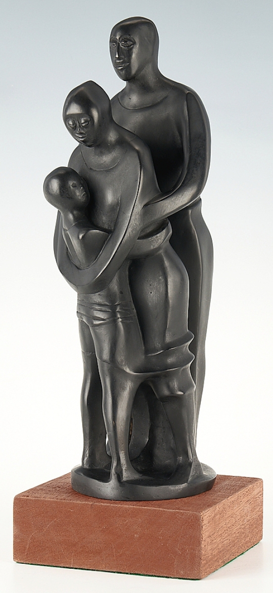 """""""The Family,"""" a 14- -inch bronze sculpture by Elizabeth Catlett (American, 1915-2012) would take $33,600."""