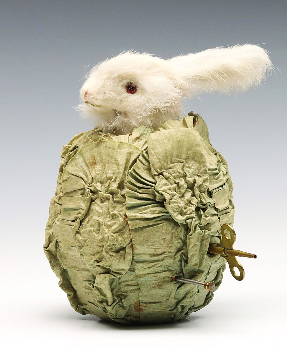 Charming bidders to the tune of $4,720 was this musical clockwork Rabbit in Cabbage automaton, circa 1930.