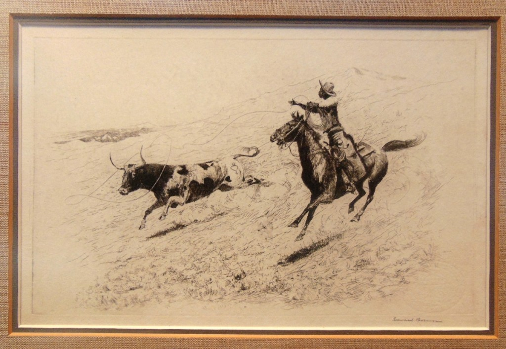 Sketch of an African American cowboy at work by Edward Borein (1872-1945), shown by Robert Sommers, Blue Heron Gallery, Fallbrook, Calif.