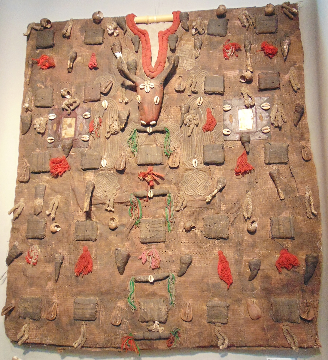 An African hunter's tunic, Bamana Dogan, Mali, offered by Natalie Pfau, Santa Fe for $1,200.