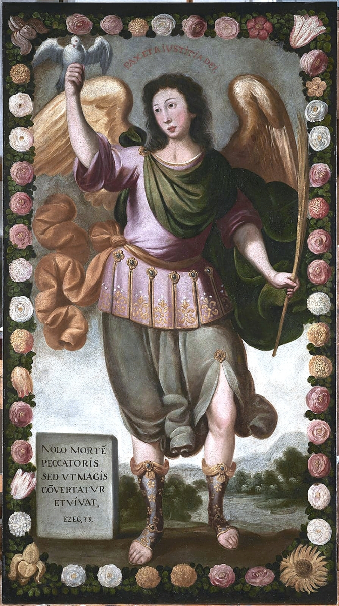 """""""Saint Gabriel the Archangel"""" by an   unidentified artist of Seventeenth Century Peru. Oil on canvas, 78-  inches high. It was   formerly in the collection of the bullfighter Antonio Fuentes and Zurita (1869-1938)."""