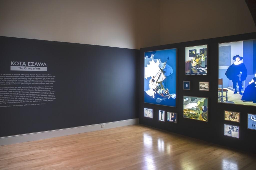 "Installation image, ""Kota Ezawa: The Crime of Art,"" on at the Georgia Museum of Art through December 5."