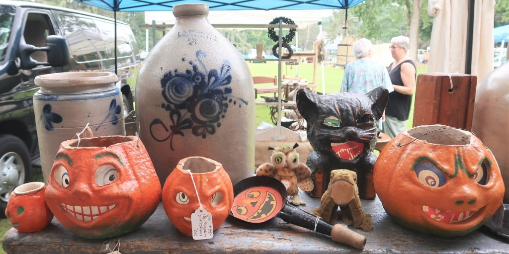 Charles Guinipero of Pantry Box Antiques, Stafford Springs, Conn., turned heads with American stoneware and vintage Halloween decorations.