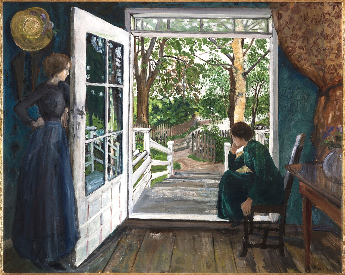 """""""By the Open Door"""" by Nikolai Astrup, before 1911. Oil on canvas. Private collection."""