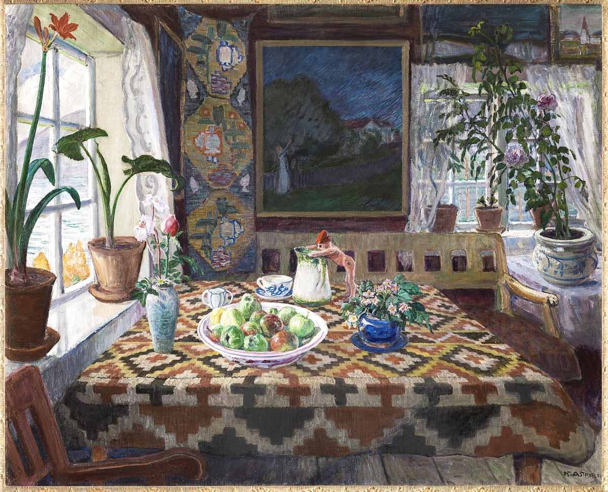 """""""Interior Still Life: Living Room at Sandalstrand"""" by Nikolai Astrup, 1926-27. Oil on canvas. Private collection."""