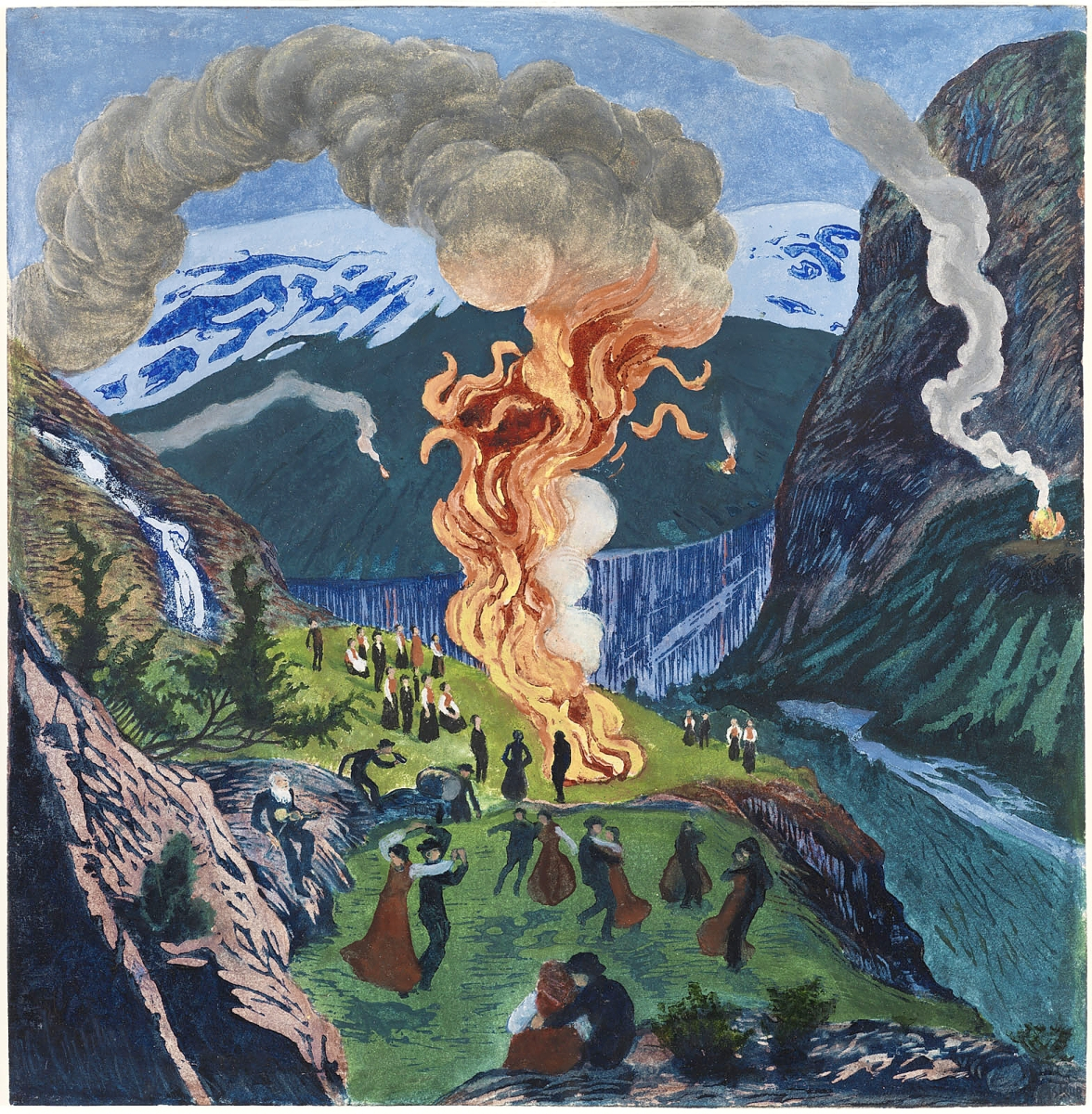 """""""Midsummer Eve Bonfire"""" by Nikolai Astrup, woodblock before 1917, print after 1917. Color woodcut on paper. Private collection."""