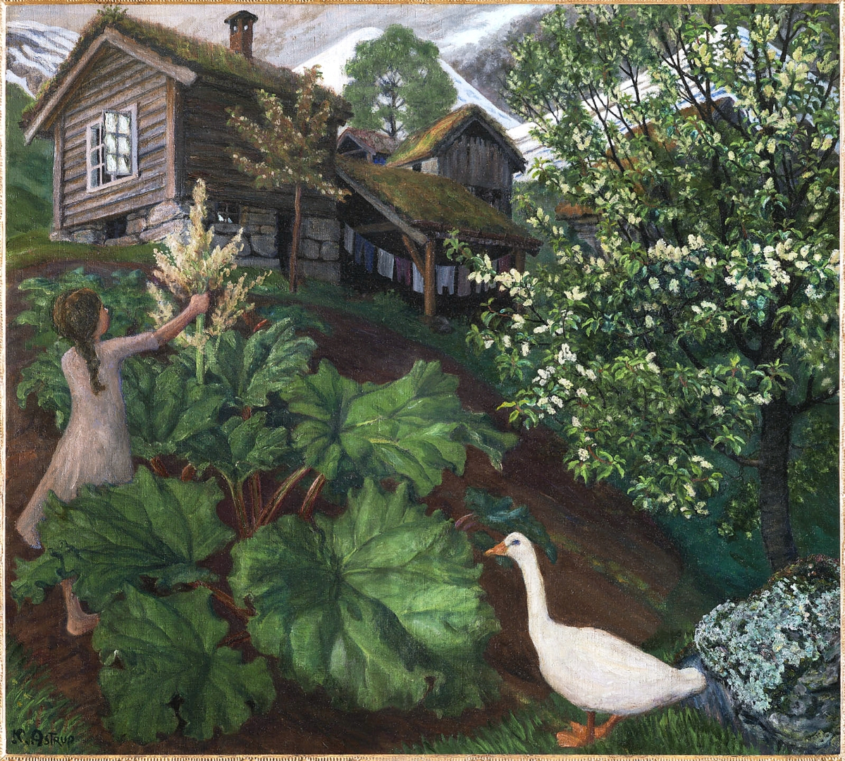 """""""Night Light, Rhubarb, Goose and Bird Cherry Tree"""" by Nikolai Astrup, circa 1927. Oil on canvas. Private collection."""