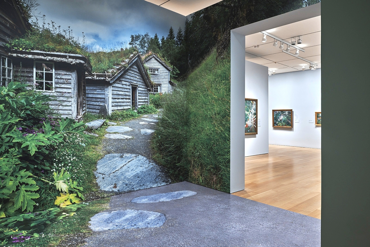 An immersive room brings viewers into the countryside home of Nikolai Astrup.