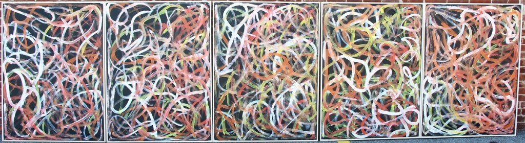"""Emily Kame Kngwarreye's (Aboriginal-Australian, circa 1910-1996) grouping of five acrylics on canvas, collectively titled """"Yam Dreaming,"""" 1996, exceeded the $20/30,000 estimate to finish at $112,500, top lot in the sale."""