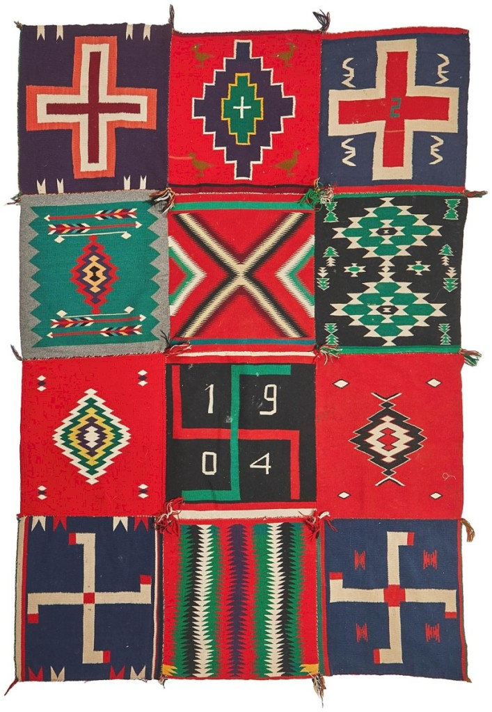 A Navajo/Dine Germantown blanket from 1904 with 12 sampler panels sewn to create one large textile (75 by 59 inches) that earned $4,375 had been created in 1905 as a bedspread in Princeton dorm room, according to catalog notes.