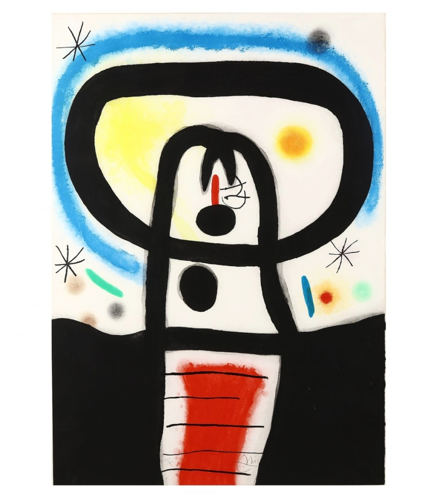 """A phone bidder paid $45,600 for """"Equinoxe"""" by Joan Miro (Spanish, 1893-1983), a color etching, aquatint and carborundum print, done in 1967 and #45 from an edition of 75. The piece had been printed by Art Adrien Maeght and published Maeght Éditeur on Chiffon de Mandeure paper measuring 41-  by 29 inches. It came from a private collection in Chapel Hill, N.C. ($30/50,000)."""