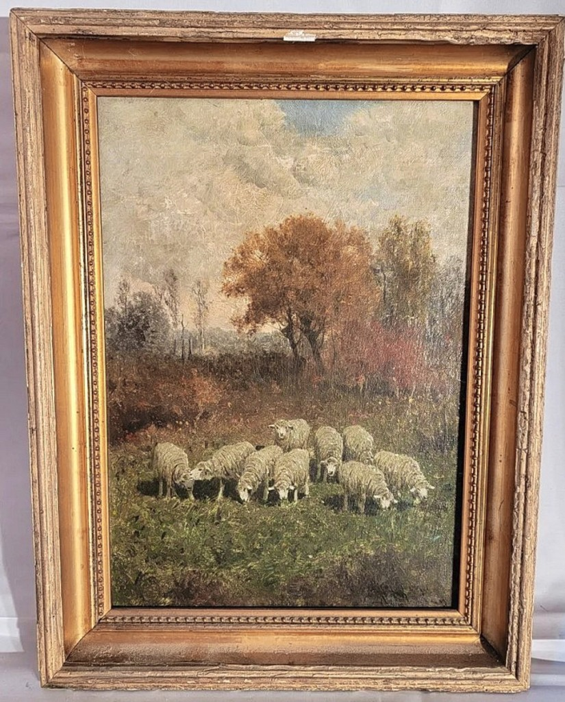 """The second highest price in the sale was $3,480, for """"Grazing Sheep"""" by Charles T. Phelan (American, b 1840). The oil on canvas measured 17 by 13 inches."""