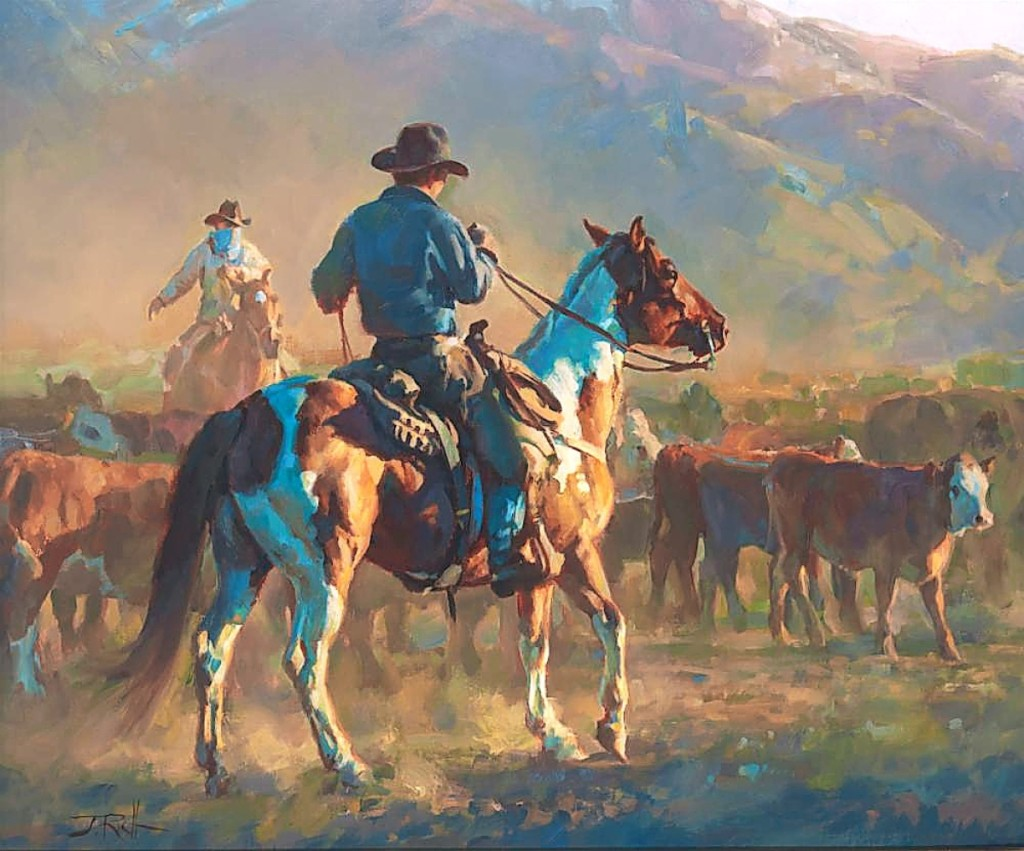 """Roping the sale's highest price, $13,000, was this oil on board by contemporary artist Jason Rich (b 1970/71) titled """"Working Sun to Sun,"""" 2011."""