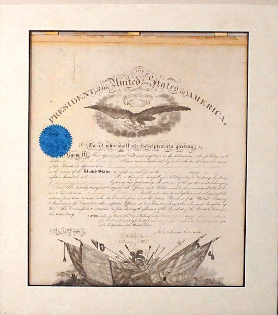 This Civil War-era military appointment on vellum was signed by Abraham Lincoln on May 24, 1864, and appointed John R. Thompson to the Commissary of Subsistence of Volunteers with the rank of Captain. A private collector pushed it to $5,280 ($1,5/2,000).