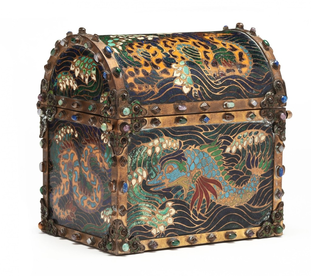 """""""That was such a beautiful piece, and the condition was tremendous,"""" Claire Frasier, Leland Little's director of fine art and silver, said of this semiprecious stone and champleve enamel dome lidded box made in France around 1900 by Armand Point (1860-1932) and bore the mark of Atelier de Haute-Claire. An American buyer on the West Coast, bidding on the phone, paid $31,200 ($800-$1,200)."""
