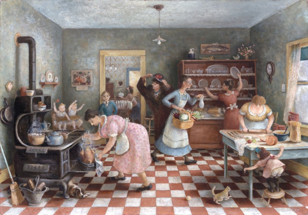 """""""Thanksgiving"""" by Doris Lee, 1935. Oil on canvas, 28-  by 40-  inches. The Art Institute of Chicago, Mr. and Mrs. Frank G. Logan Purchase Prize Fund, 1935.313. ©Estate of Doris Lee, Courtesy D. Wigmore Fine Art, Inc. Photo: Art Resource, NY."""