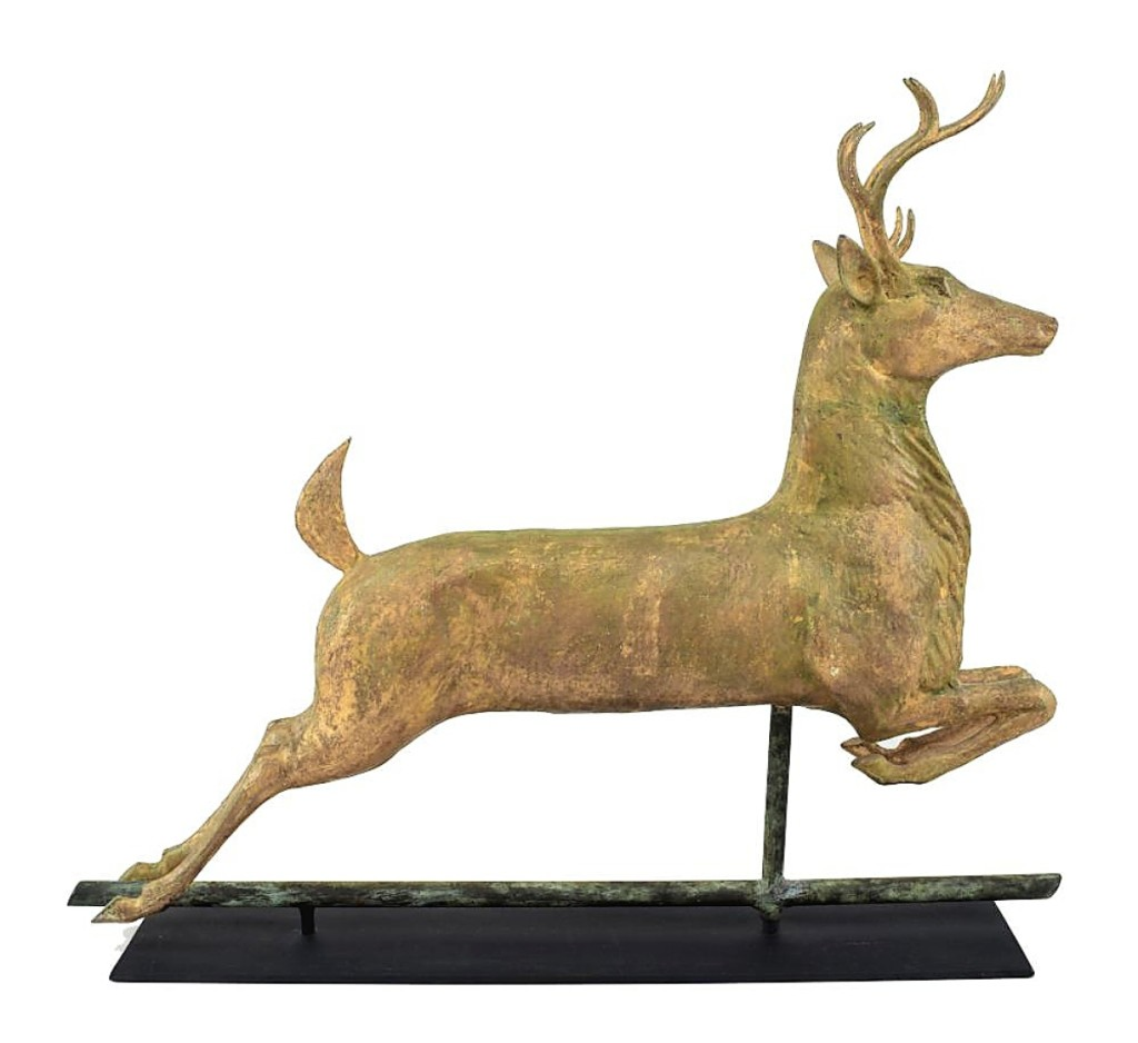 Auctioneers on house calls have to look everywhere. This full-bodied copper leaping stag weathervane with cast zinc head and antlers was found in a downstairs bathroom of a large home. At $5,712, it was the highest priced weathervane in the sale.