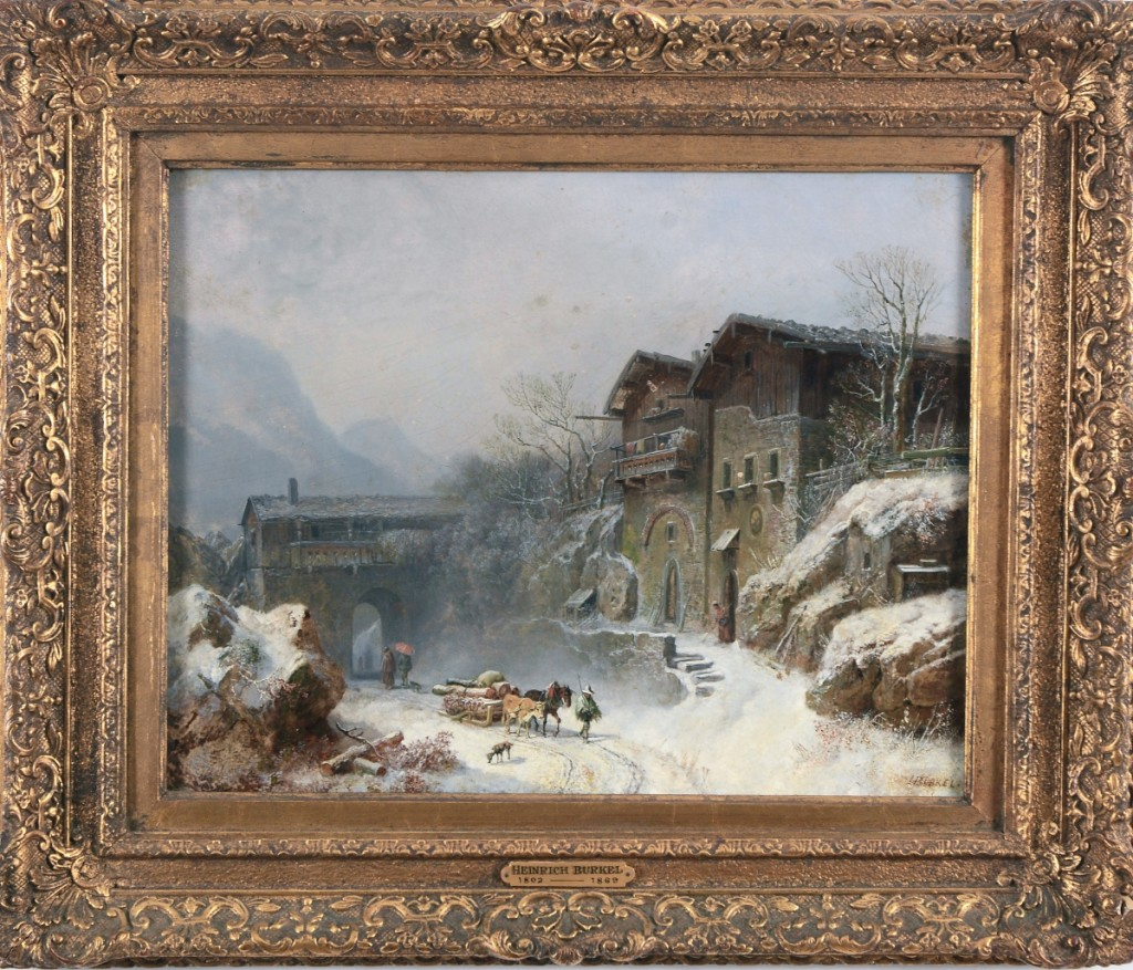 """At $8,840, the highest priced lot of the day, was a busy winter landscape by German artist Heinrich Burkel. It was titled in German on the reverse, """"View of Rattenberg."""" The painting was bought by a bidder in Germany."""