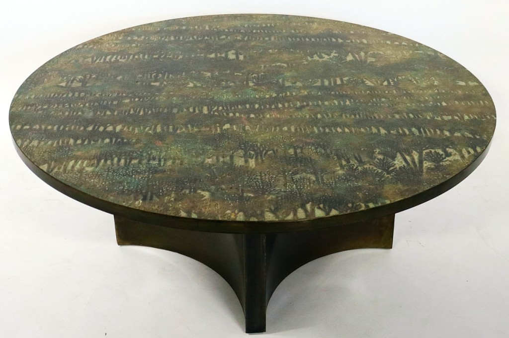 """More than doubling its high estimate at $27,500 was a Philip LaVerne (American, 1908-1988) and Kelvin LaVerne (American, b 1936) """"Eternal Forest"""" coffee table, circa 1969."""