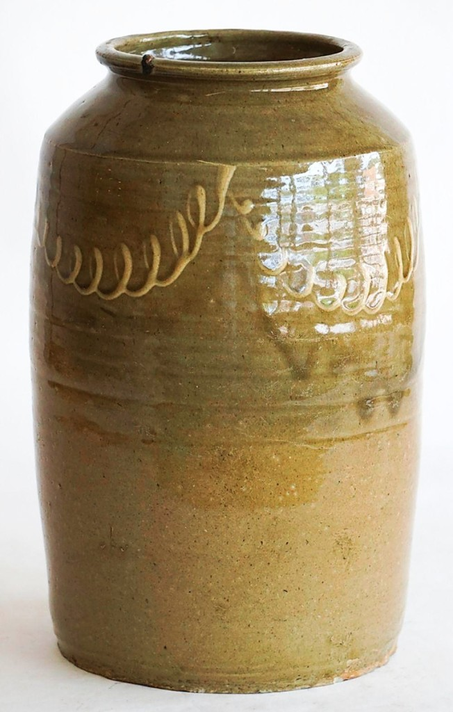 The market for Southern pottery is enjoying a moment right now and this stoneware storage or preserve jar, made by Thomas Chandler around 1850 in Edgefield, S.C., led the category. It had been recently discovered by an Aiken County, S.C., collector and sold to a private collector in Georgia for $2,400 ($2/4,000).