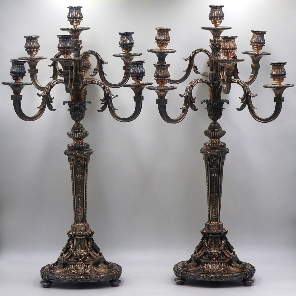 Family provenance from a White Plains, N.Y., estate stated that this extraordinary pair of French Noble .950 silver seven-light candelabras was given to their grandfather, the president of Turkey, from the Eastern Orthodox patriarch Athenagoras. They sold for $35,000 against a $7/9,000 estimate.