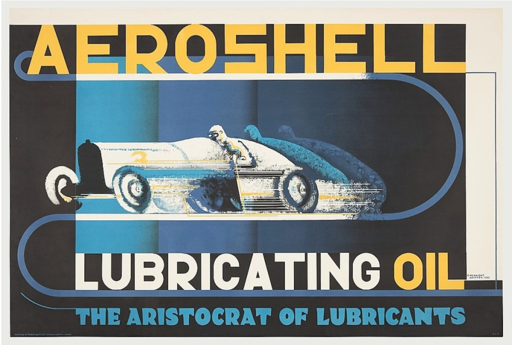 """""""Aeroshell Lubricating Oil"""" poster, 1932, published by Shell-Max and BP Ltd., London, Printed by Chorley & Pickersgill, Ltd, lithograph, Merrill C. Berman collection."""