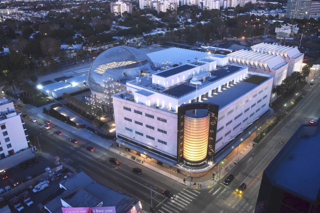 Aerial shot of the Academy Museum of Motion Pictures. ©Academy Museum Foundation.