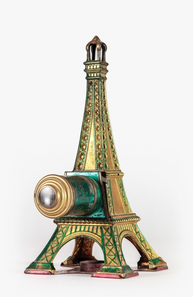 Eiffel Tower magic lantern, Louis Aubert, Paris, France, circa 1890. Tin, paint, steel and glass. From the Richard Balzer Collection, gift of Patricia Bellinger Balzer. Photo by Joshua White/JWPictures, ©Academy Museum Foundation.