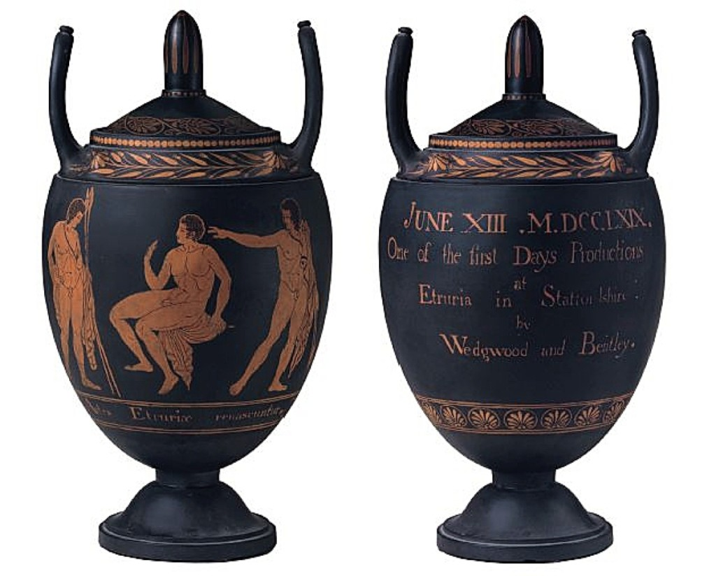 """The """"first fruits of Etruria."""" One of the six original vases thrown by Josiah Wedgwood on June 13, 1769, decorated with """"Hercules in the Garden of Hesperides"""" from Hamilton's collection, to celebrate the """"first Days Productions at Etruria in Staffordshire."""""""