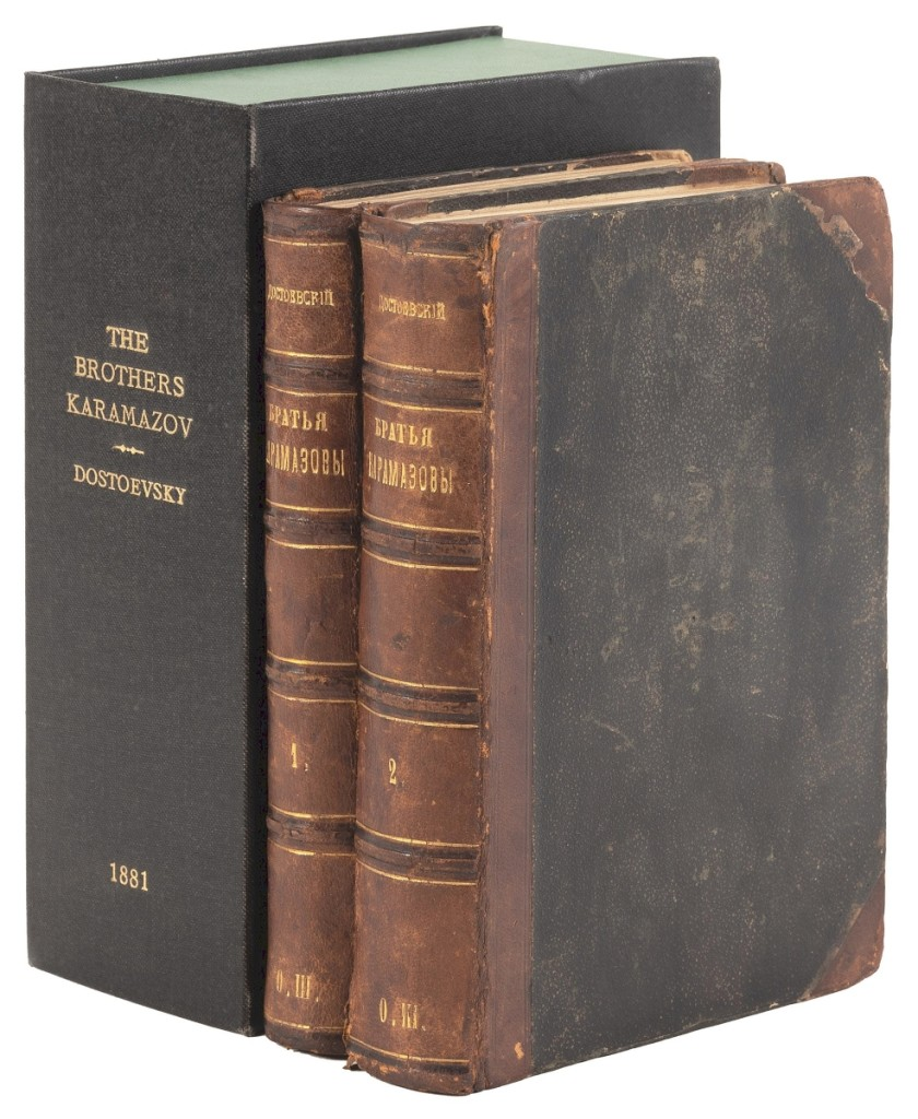 """Leading the sale was this first edition of Fyodor Dostoevsky's Brothers Karamazov, which sold for $20,400. The two volumes were presented in period quarter leather and boards, spine lettered and ruled in gilt. """"An exceptional copy in what is undoubtedly a Russian binding of the period,"""" said the auction house."""