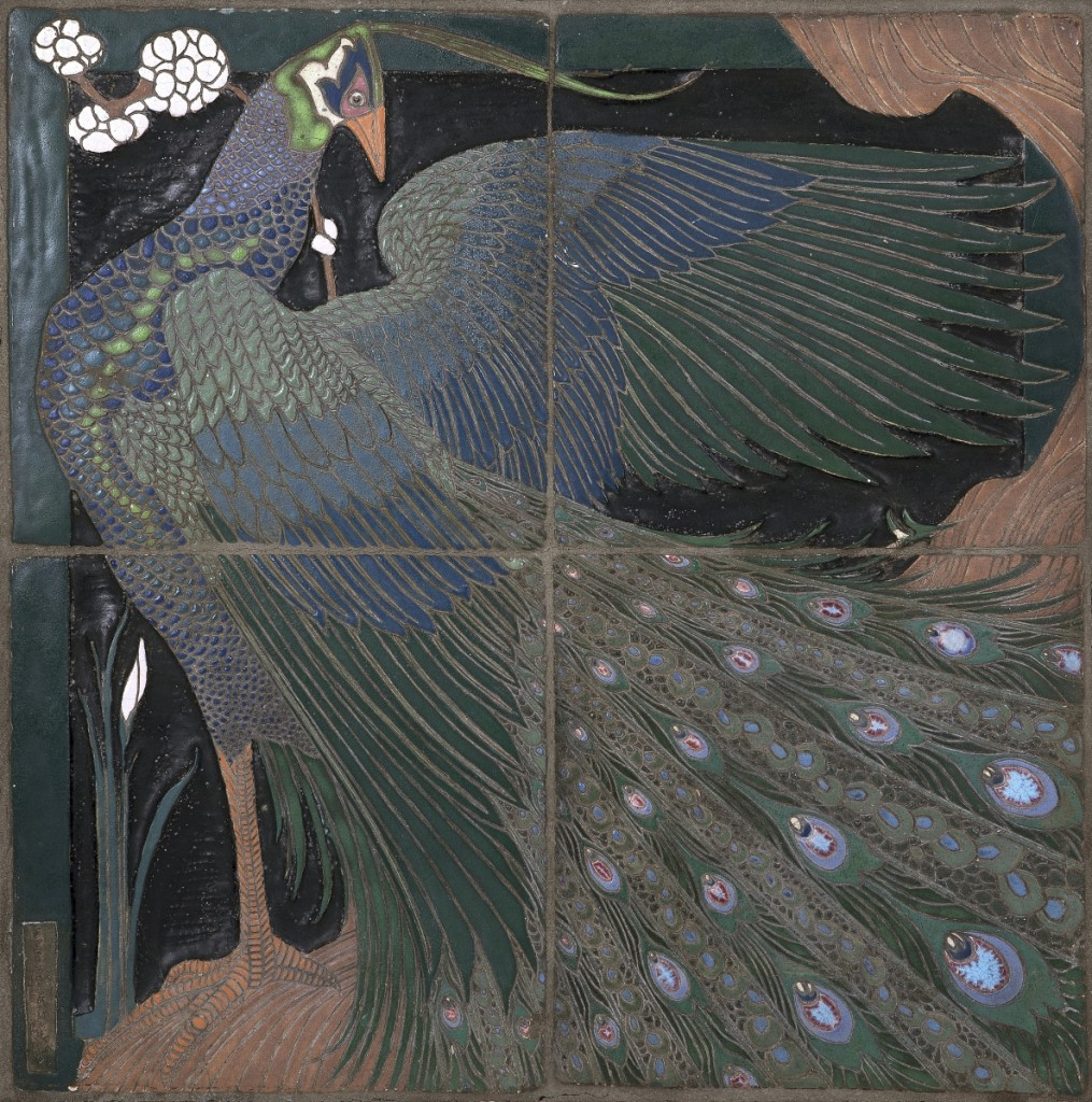 """Frederick Hurten Rhead, """"Peacock,"""" 1910, four-tile panel, Art Academy of the People's University, 20¾ by 20¾ inches."""