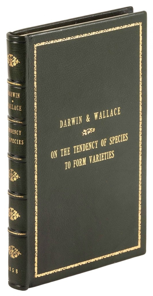 Fetching $18,000 was On the Tendency of Species to Form Varieties…, 1859, three papers by Charles Darwin and Alfred Russel Wallace, the first publication of the Darwin's groundbreaking theory of evolution and natural selection.