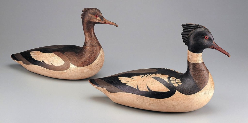 From the collection of the American Folk Art Museum, Lothrop T. Holmes (1824-1899), red-breasted merganser drake (foreground); red-breasted merganser hen (background), Kingston, Mass., 1860-70. Paint on wood with glass eyes, 9½ by 16 by 6 inches. Gift of Adele Earnest, 1994.