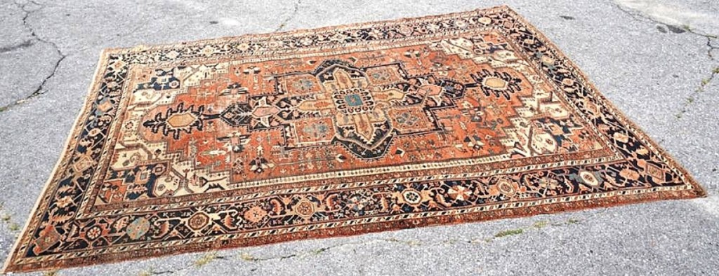 Jeremy Wooten said that all of the rugs in the sale had come out of private homes, and all demonstrated wear from use. Leading the sale at $10,200 — from an online bidder from the Mid-Atlantic states — was this early Twentieth Century Persian Serapi carpet that measured slightly more than 10 by 14 feet and came from a Charleston family collection ($ ,000).