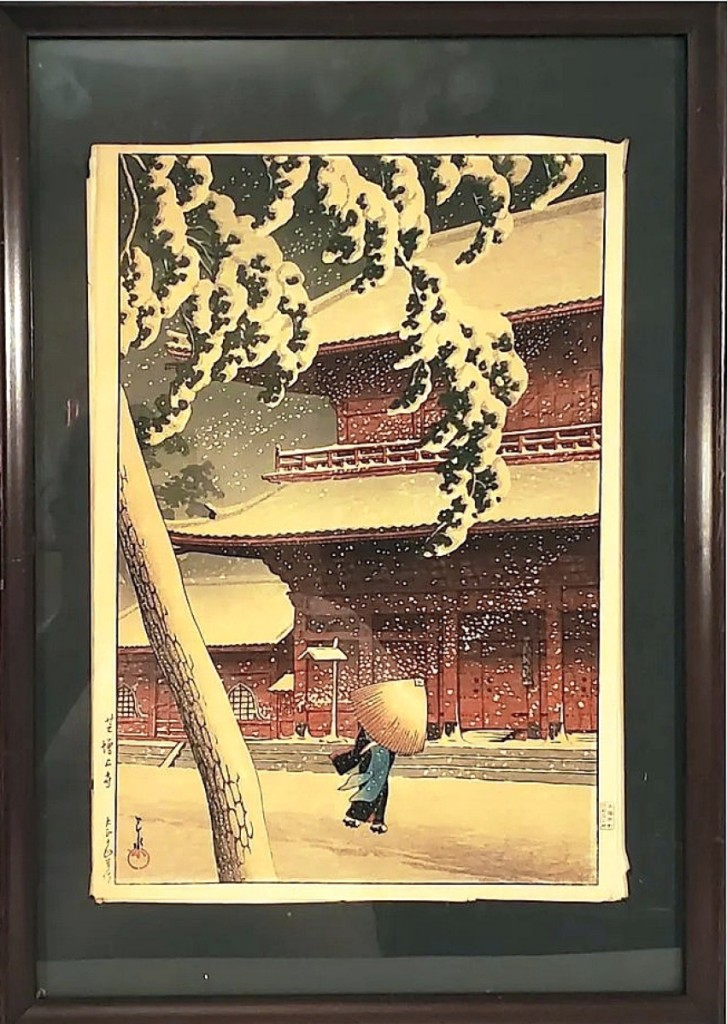 """The top lot in the sale was Kawase Hasui's color woodblock print of Zojo temple from 1925. An online bidder paid $10,440 for the framed 14¼-by-10-inch work from Hasui's """"Twenty Views of Tokyo"""" series."""