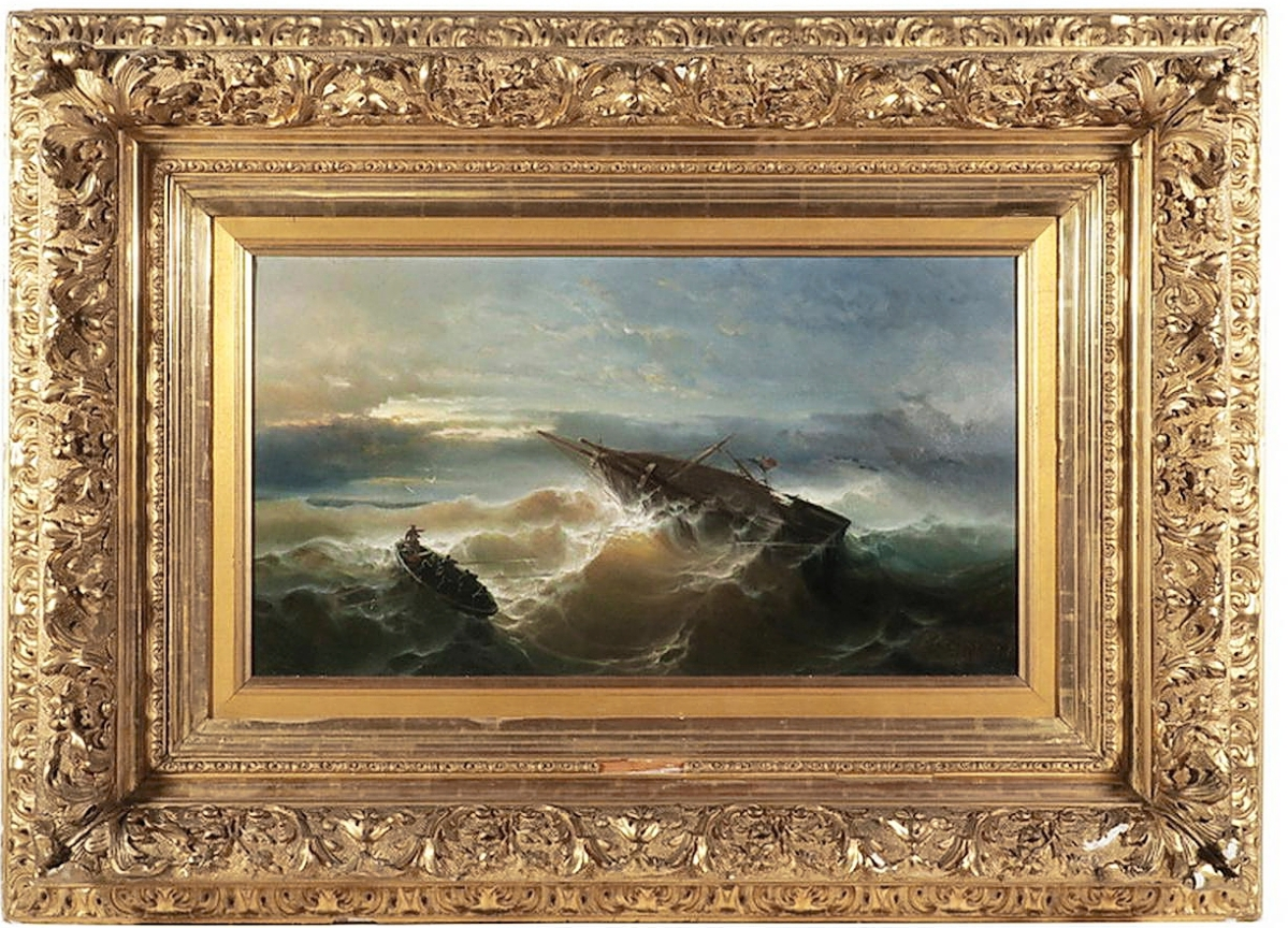 """A phone bidder, competing against another, propelled the price of """"After the Storm"""" by Ivan Aivazovsky (Russia, 1817-1900) to $169,650. It was the top price in the sale ($70/90,000)."""