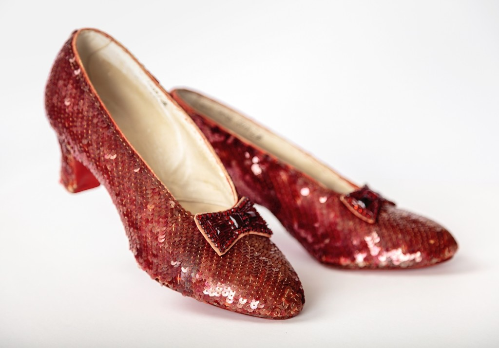 Screen-used close-up pair of the Ruby Slippers, designed by Adrian, from The Wizard of Oz (1939). Academy Museum of Motion Pictures. Photo by Joshua White/JWPictures, ©Academy Museum Foundation.