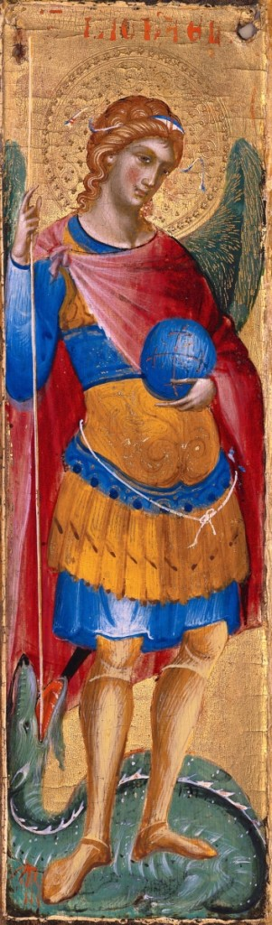 """Paolo Veneziano (circa 1259-1362), """"Archangel Michael,"""" about 1340-45, tempera and gold leaf on panel. Worcester Art Museum, Worcester, Mass., museum purchase, 1927."""