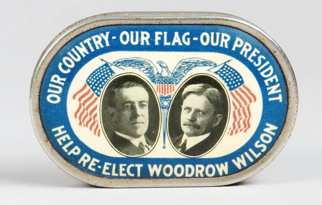 Celluloid pocket banks made up a chunk of the offerings in the auction and included this Woodrow Wilson example that brought $1,560. Peirce called it the nicest conditioned example of this bank that he had ever seen. Woodrow Wilson narrowly won reelection in 1916.