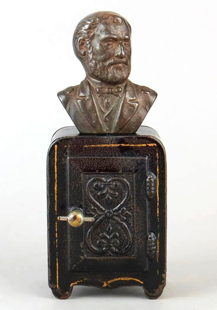 The sale's top lot was a Ulysses S. Grant safe bank by Harper that sold for $4,140. The bank is fairly rare and hardly ever seen with the original stenciling.