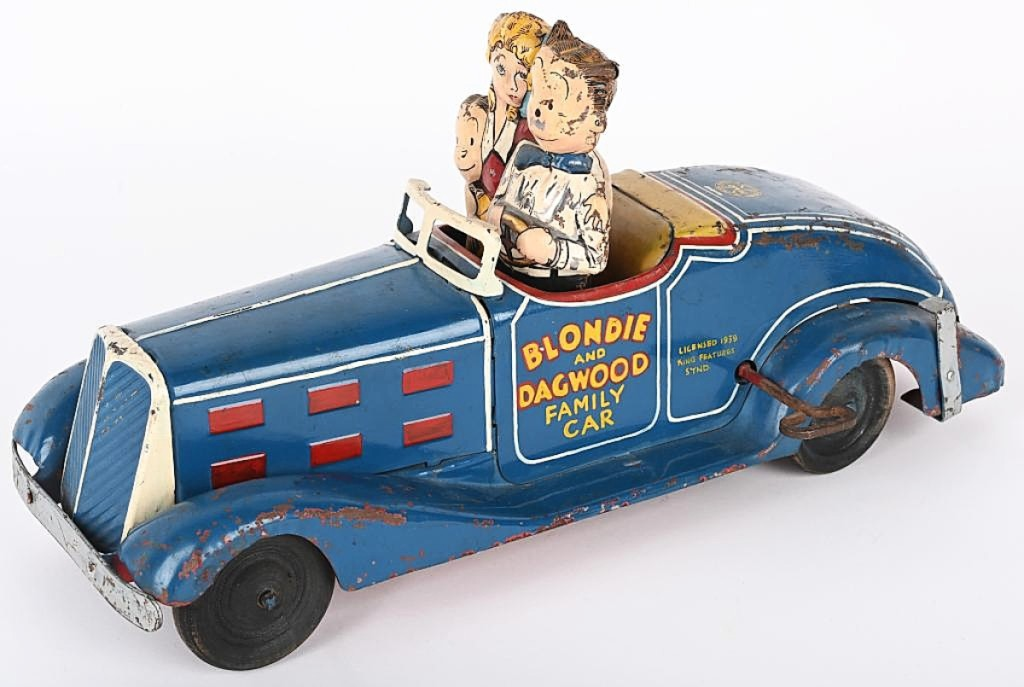 The top car in the sale set a record for any car by Marx as the Blondie and Dagwood Family Car prototype took $16,200. It would have set an auction record for any toy by Marx if not for the motorcycles in this sale. The car was modeled after the popular American cartoon Blondie. Handpainted, 14 inches long.