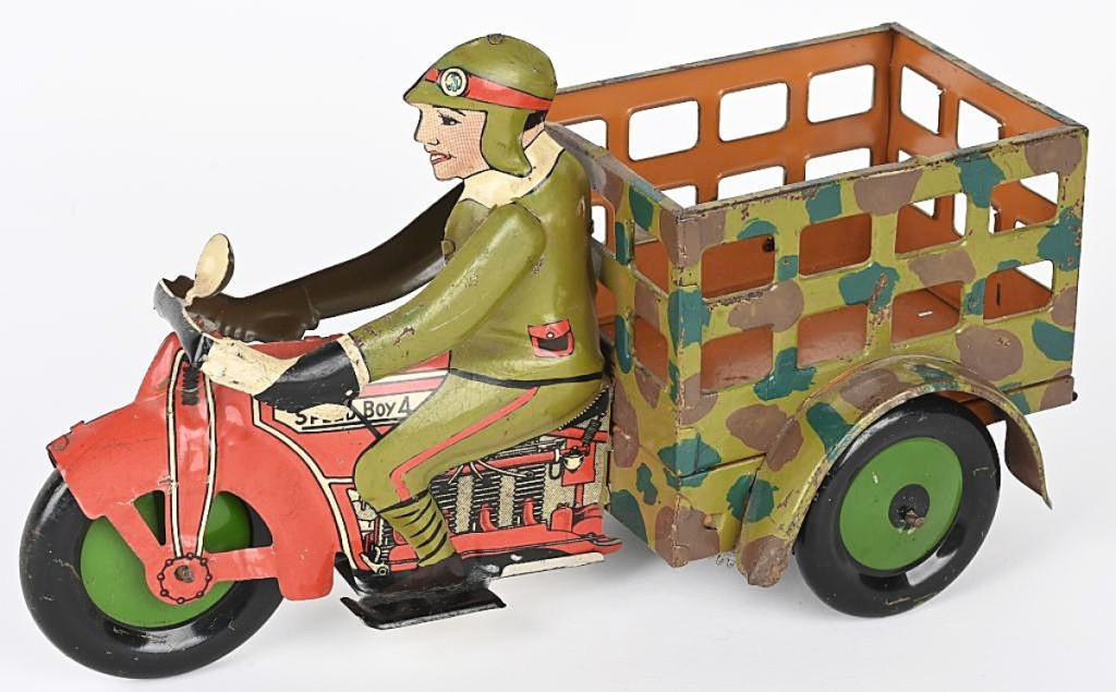 This Marx prototype military motorcycle tied for the sale's top lot at $21,850. The other Marx military prototype motorcycle in the sale sold at the same price and both now hold the auction record for any toy by Marx.