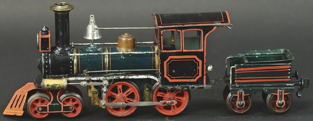 The auction's top highlight came in at $90,000 above a $15,000 high estimate for the Marklin outline 4-4-0 locomotive, the first model loco the company made for the American market from 1895 to 1903. To appeal to the westward-bound Americans, Marklin added the cowcatcher and bell to their standard fare.